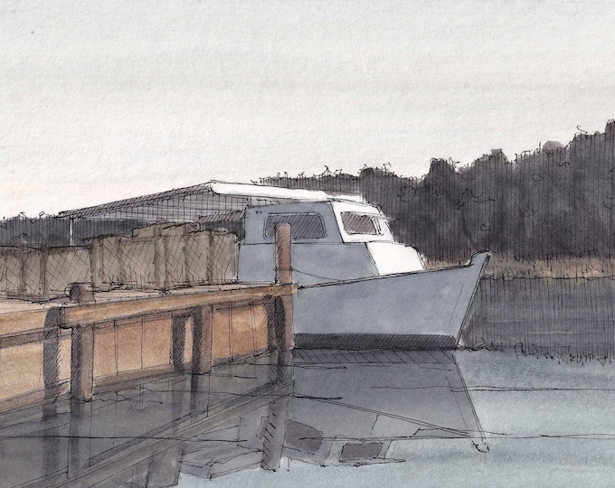 CRAB BOAT and DOCK - Crab Trap, Deadrise, Wood Boat, Crabbing, Chesapeake Bay, Drawing, Ink and Watercolor Painting, Art, Drawn There