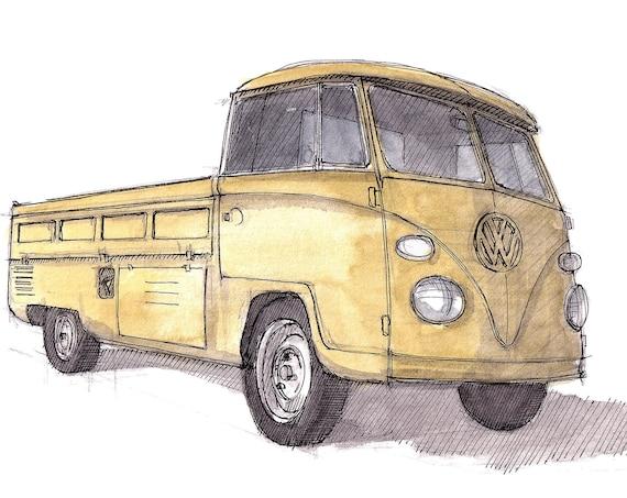 YELLOW VW BUS - Volkswagen, Kombi, Pickup Truck, Vanlife, Plein Air Watercolor Painting, Drawing, Sketchbook, Art Print, Drawn There