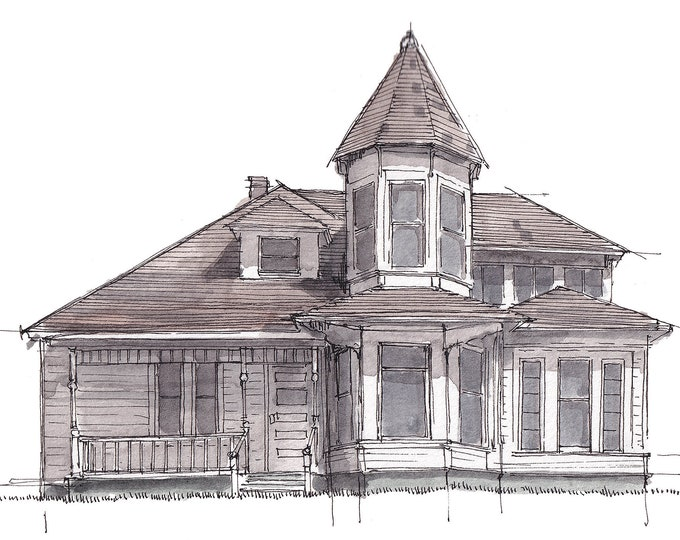 HUNTINGTON BEACH Historic Newland House - Farmhouse, Architecture, Orange County, California, Watercolor Painting, Drawing, Art, Drawn There