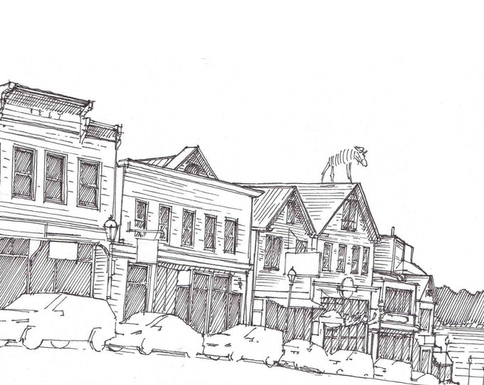 BAR HARBOR MAINE - Main Street, Architecture, Urbansketcher, Drawing, Art, Pen and Ink, Acadia National Park, Moose, Sketchbook, Drawn There