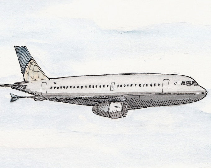 COMMERCIAL AIRLINER - Jet Plane, Airplane, Travel, Drawing, Watercolor Painting, Sketchbook, Art, Drawn There