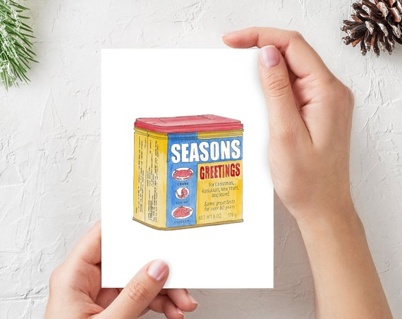 SEASONS GREETNGS Old Bay Holiday Cards - (Qty 3) 5x7 Folded Greeting Cards, Blank Inside, Baltimore, Drawing, Ink & Watercolor, Drawn There