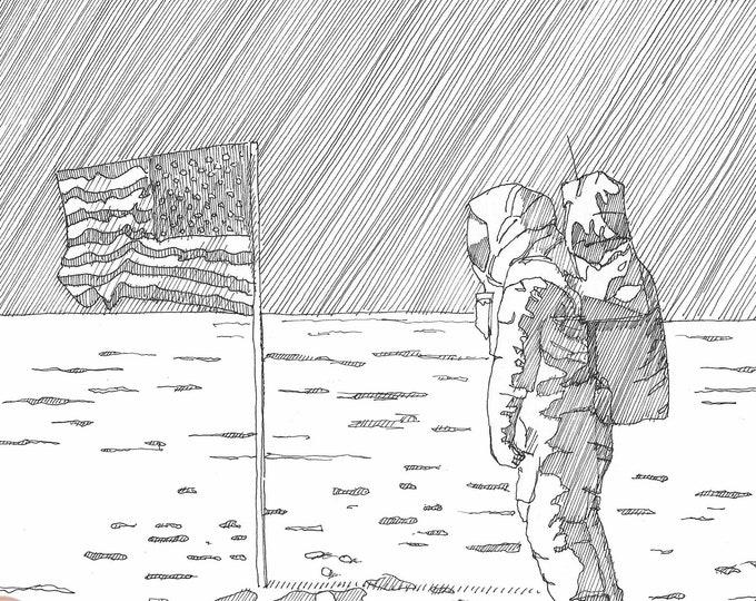 APOLLO 11 AMERICAN FLAG - Astronaut, Buzz Aldren, Moon Walk, Space Travel, nasa, Drawing, Pen & Ink, Sketchbook, Drawn There