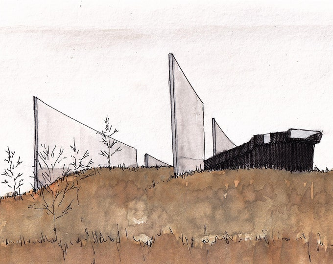 SEPTEMBER 11 FLIGHT 93 MEMORIAL - 9/11, Architecture, Drawing, Watercolor Painting, Meadow, Sketchbook, Art, Print, Drawn There