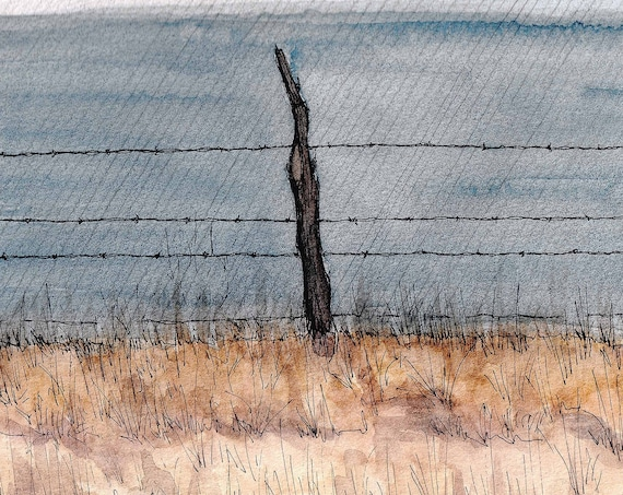 BARBED WIRE FENCE - Fence Post, Livestock, Ranch, Rustic, Plein Air, Drawing, Watercolor, Painting, Sketchbook, Art, Print, Drawn There
