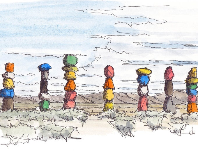 SEVEN MAGIC MOUNTAINS - Land Art, I-15, Cairns, Nevada, Desert, Las Vegas, Ink & Watercolor, Painting, Drawing, Sketchbook, Drawn There