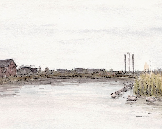 BEND OREGON - Old Mill Riverfront, Deschutes River, Industrial, Watercolor Painting, Drawing, Plein Air, Landscape, Art Print, Drawn There