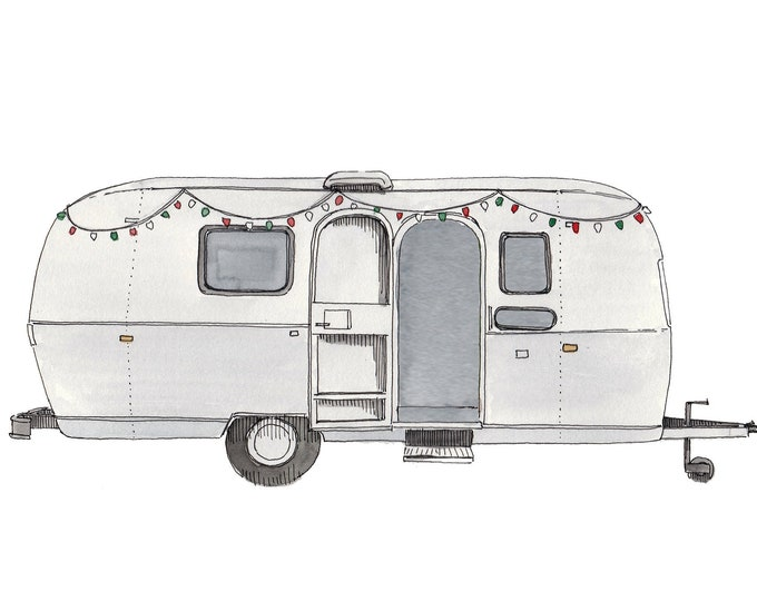 VINTAGE AIRSTREAM TRAILER - Camper, Roadtrip, String Lights, Chic, rv, Watercolor Painting, Drawing, Sketchbook, Art, Drawn There