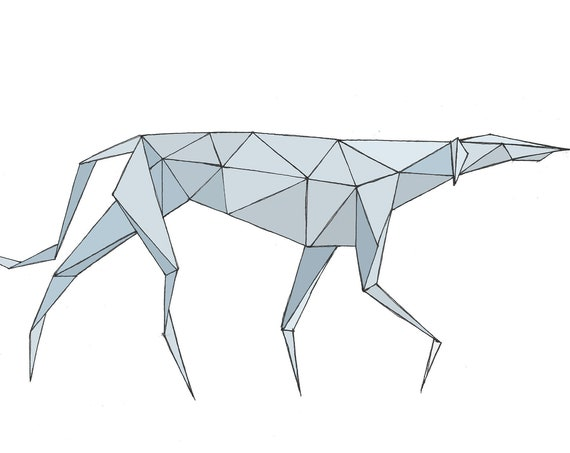 GEOMETRIC GREYHOUND - Abstract Art, 3D, Polygon, Drawing, Pen and Ink, Blue, Sculpture, Digital Drawing, Pen & Ink, Animal Art, Drawn There