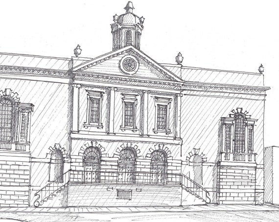 OLD EXCHANGE BUILDING - Charleston, South Carolina, Historic Architecture, Drawing, Pen and Ink, Sketchbook, Art, Print, Drawn There