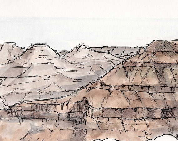 GRAND CANYON National Park - Mather Point, Landscape, Arizona, Ink Drawing, Watercolor Painting, Sketchbook, Art, Drawn There