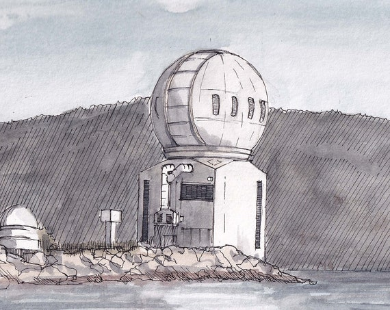 SOLAR OBSERVATORY at Big Bear Lake, California - Sun Telescope, Architecture, Drawing, Watercolor Painting, Sketchbook, Art, Drawn There