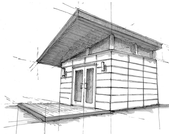 MODERN TINY HOUSE - Shed, Architecture, Roofline, Pen and Ink, Drawing, Sketchbook, Art, Drawn There