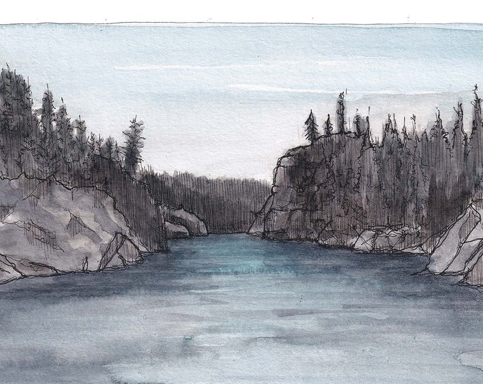FLATHEAD RIVER MONTANA - Glacier National Park, Fly Fishing, Ink & Watercolor Landscape Plein Air Painting, Drawing, Art, Drawn There