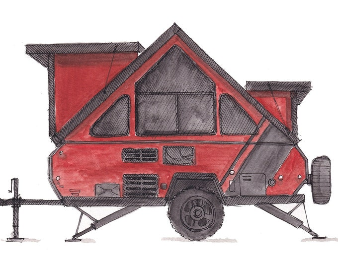 A-LINER POPUP CAMPER - Trailer, Camping, Road Trip, rv, Drawing, Watercolor, Painting, Sketchbook, Art, Print, Drawn There
