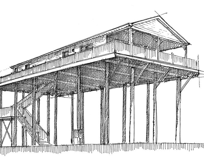 STILT HOUSE - Gulf Coast, Texas, Gulf of Mexico, Architecture, Flooding, Beach House, Ocean, Ink Drawing, Sketchbook, Art, Drawn There