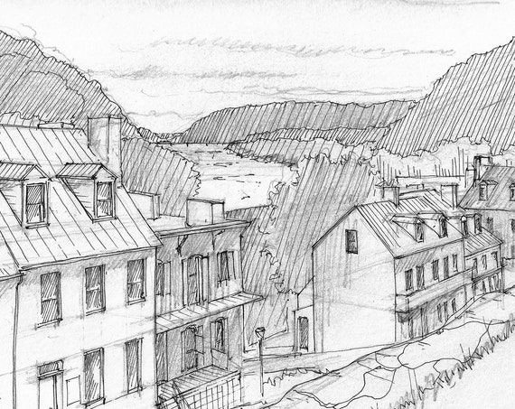 HISTORIC HARPERS FERRY, West Virginia - Architecture, Appalachian Trail, River, Mountains, Houses, Pencil Drawing, Sketch, Art, Drawn There