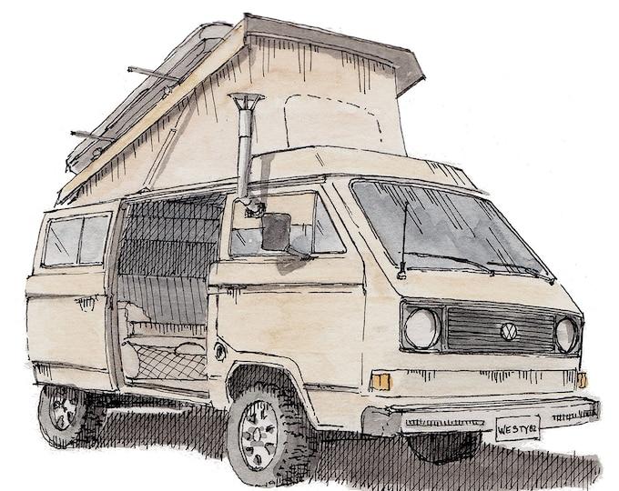 VOLKSWAGEN WESTFALIA VANAGON - Van, Vanlife, Westie, Camping, Roadtrip, Ink and Watercolor, Painting, Drawing, Art Print, Drawn There