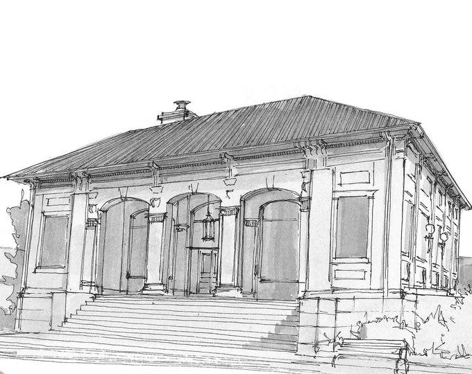HISTORIC POST OFFICE McKinney, Texas - Architecture, Plein Air, Pen and Ink, Urbansketcher, Sketchbook, Art, Drawn There