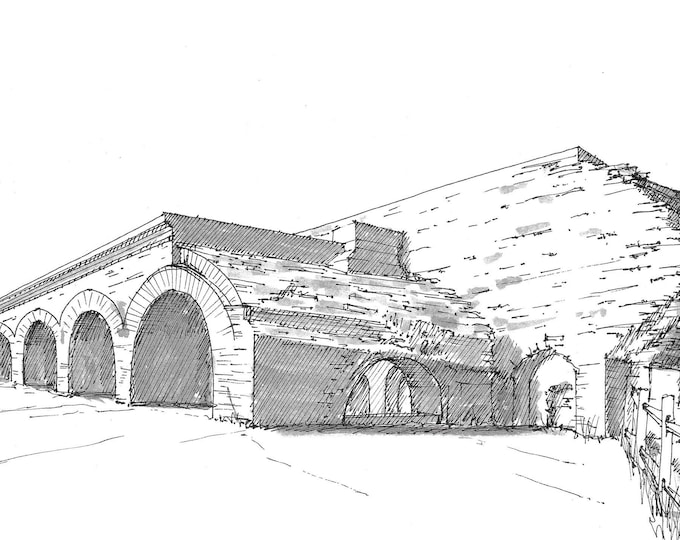 FORT PICKENS - Pensacola, Florida, Drawing, Pen and Ink, Architecture, Arch, Military Fort, Civil War, History, Sketchbook, Art, Drawn There