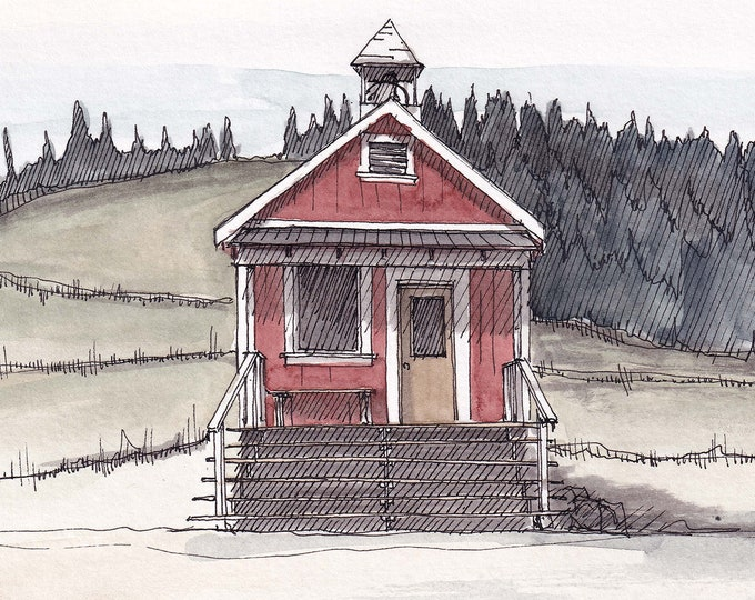 MOUNTAIN SCHOOLHOUSE - One Room School, Historic, Architecture, Mountains, Drawing, Watercolor Painting, Sketchbook, Art, Print, Drawn There