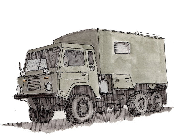 VOLVO UNIMOG OVERLAND - Vehicle, Truck, Off Road, 6x6, Overlander, Vanlife, Drawing, Pen and Ink, Watercolor, Painting, Art, Drawn There