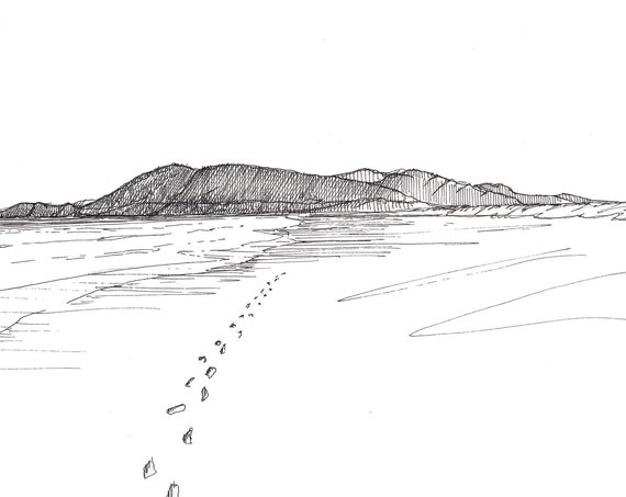 OREGON BEACH FOOTPRINTS - Ocean, Pacific Northwest, Pen and Ink, Drawing, Sketch, Art Print, Drawn There