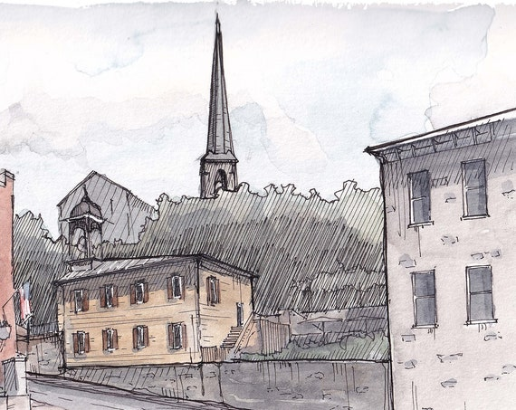 ELLICOTT CITY MARYLAND - Historic Small Town, Urbansketcher, Architecture, Plein Air Watercolor Painting, Sketchbook, Art Print, Drawn There