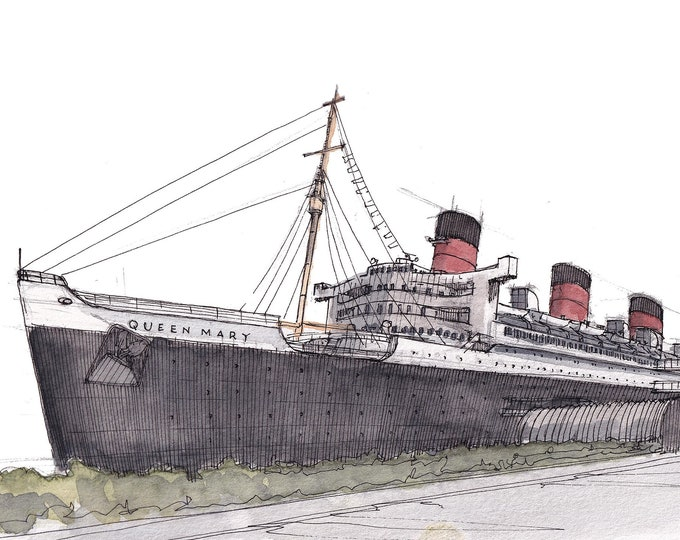 RMS QUEEN MARY - Oceanliner, Ship, Cruise Ship, Long Beach, California, Watercolor Painting, Drawing, Sketchbook, Art, Drawn There