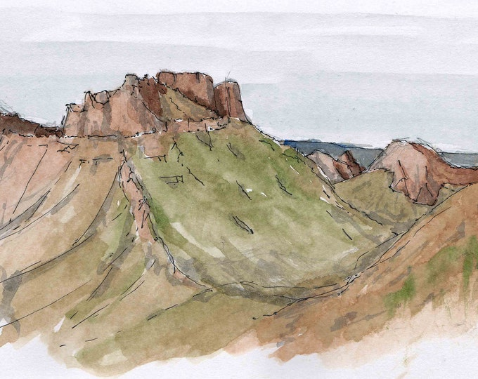 CASA GRANDE BUTTE in Big Bend National Park, Texas - Ink and Watercolor, Drawing, Painting, Sketchbook, Art, Landscape, Drawn There