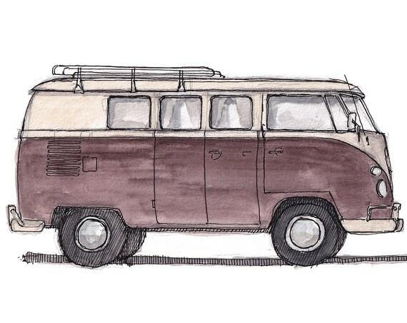 RED VW BUS - Volkswagen, Kombi, Vintage, Classic, Vanlife, Plein Air Watercolor Painting, Drawing, Sketchbook, Art Print, Drawn There