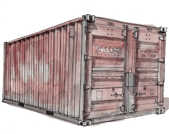 SHIPPING CONTAINER - Transport, Cargo, Architecture, Tiny House, Container Home, Art, Watercolor, Painting, Drawing, Sketchbook, Drawn There