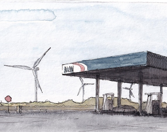GAS STATION WINDMILLS - Alternative Energy, Fossil Fuels, Transportation, Plein Air Watercolor Painting, Sketchbook, Art Print, Drawn There