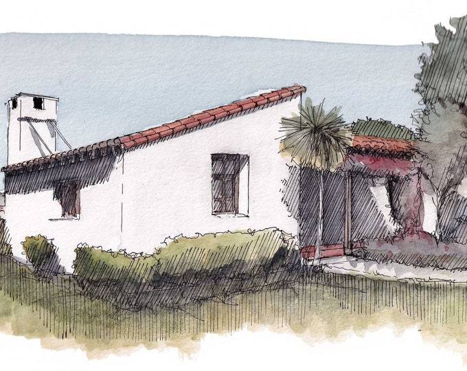 SAN CLEMENTE State Beach Casita - Spanish Mission Architecture, Casita, Flowers, Ink & Watercolor Plein Air Painting, Art Print, Drawn There