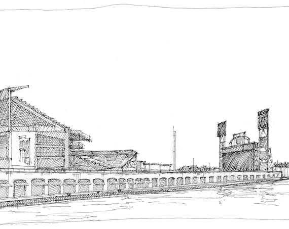 GIANTS ORACLE PARK - San Francisco Baseball Stadium, Bay, Pen and Ink Drawing, Art, Sketchbook, Sketch, Urbansketcher, Drawn There