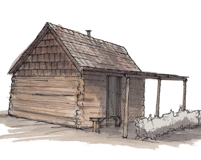 PIONEER LOG CABIN - Arizona Pioneer Living History, Teacher, Architecture, Ink and Watercolor, Painting, Drawing, Sketchbook, Drawn There