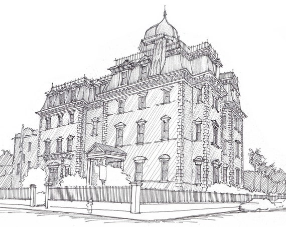 WENTWORTH MANSION - Charleston, South Carolina, Historic Architecture, Pen and Ink, Drawing, Sketchbook, Art, Print, Drawn There