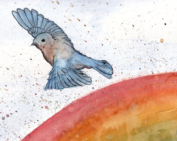 SOMEWHERE OVER The RAINBOW Bluebirds Fly - Song Lyrics, Drawing, Wizard of Oz, Bird, Flying, Watercolor Painting, Art, Print, Drawn There