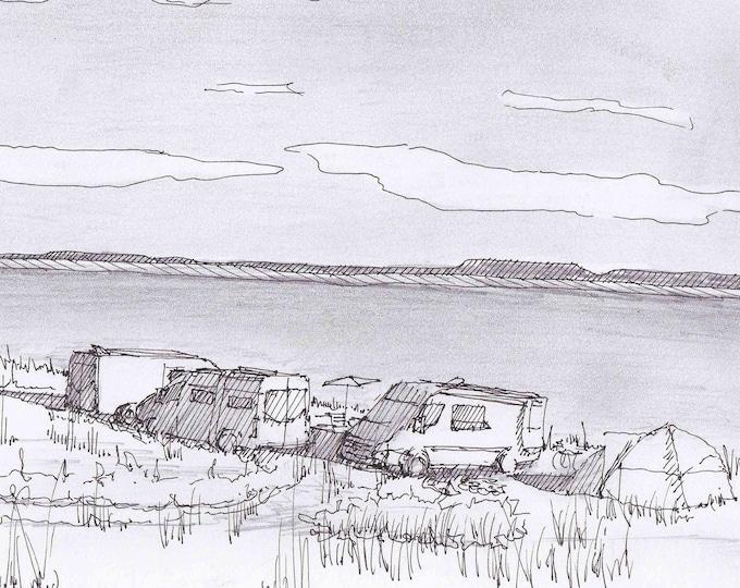SPRINTER CAMPER VANS - Lake, Wyoming, Camping, Vanlife, Custom Van, Mercedes Sprinter, Pen and Ink, Drawing, Pencil, Drawn There