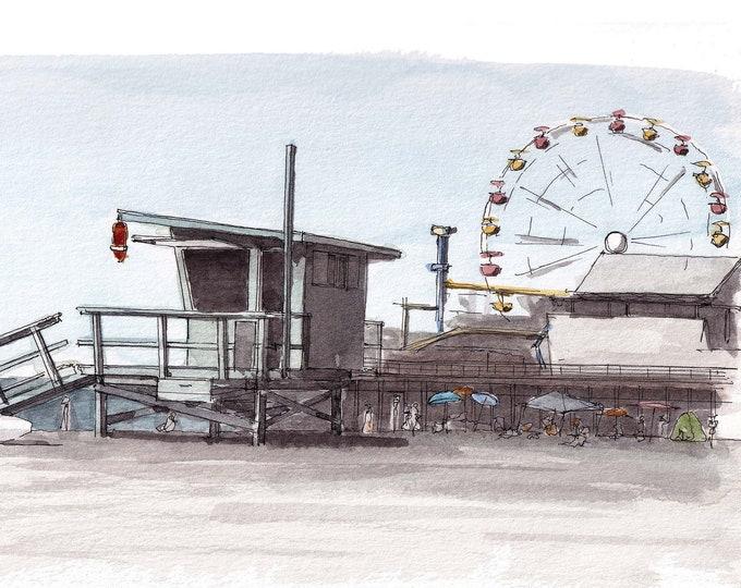 SANTA MONICA PIER - California, Ferris Wheel, Life Guard Stand, Beach, Drawing, Pen & Ink, Watercolor, Painting, Art Print, Drawn There