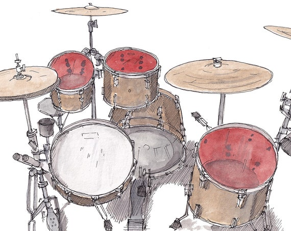 PEARL DRUM KIT - Music, Rock and Roll, Drummer, Rhythm, Instrument, Band, Ink & Watercolor, Painting, Drawing, Art, Print, Drawn There