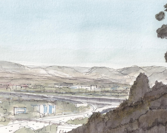 SAN DIEGO HILLSIDE - California Landscape, Highway, Freeway, Ink and Watercolor Painting, Drawing, Art, Drawn There