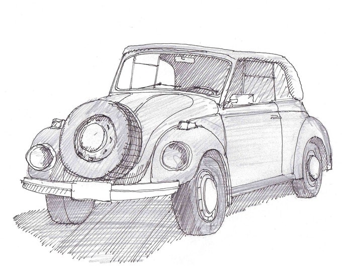 SUPER BEETLE - 1971, Volkswagen, VW, Classic Car, Pen and Ink, Sketch, Drawing, Sketchbook, Art, Drawn There