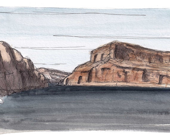LAKE POWELL II - Arizona, Utah, Glen Canyon, Sandstone Rock Formation, Desert Landscape Watercolor Painting, Drawing, Art, Drawn There