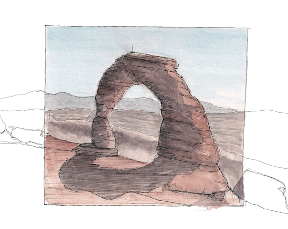 DELICATE ARCH in Arches National Park - Moab, Utah, Sandstone, Drawing, Ink and Watercolor Plein Air Landscape Painting, Art, Drawn There