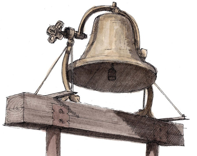 VINTAGE BRASS BELL - Drawing, Watercolor Painting, Ink and Watercolor, Railroad, Antique, Art Print, Sketchbook, Drawn There