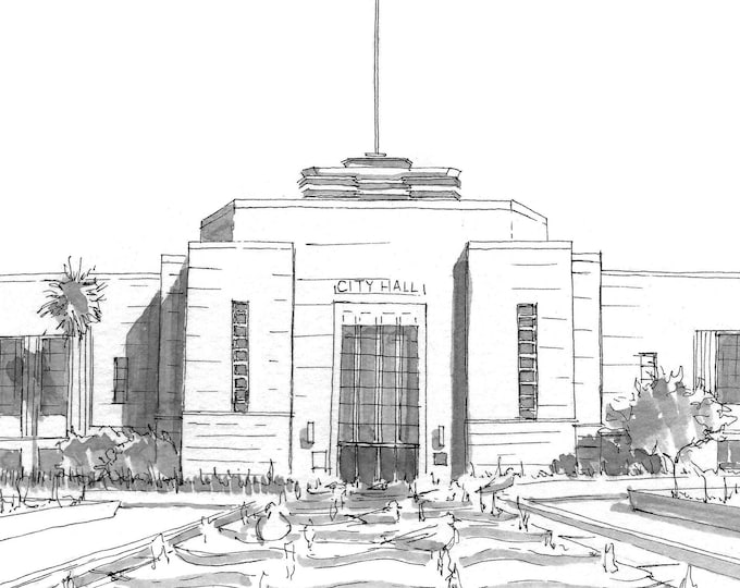 SANTA MONICA CALIFORNIA City Hall - Architecture, Art Deco, Pen and Ink, Drawing, Art, Sketchbook, Drawn There