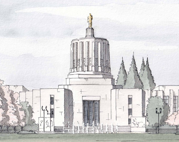 OREGON CAPITOL BUILDING - Salem, Art Deco, Architecture, Government Building, Drawing, Watercolor Painting, Art Print, Drawn There