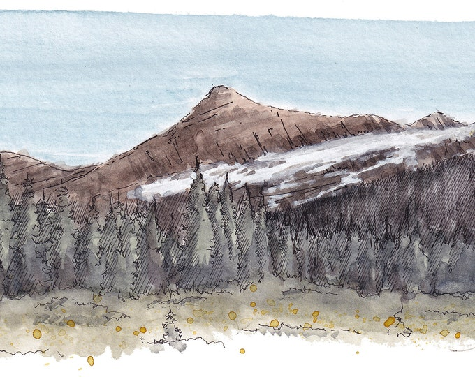 GLACIER NATIONAL PARK - Citadel Mountain, Gunsight Lake, Hiking, Ink and Watercolor Landscape Plein Air Painting, Drawing, Art, Drawn There