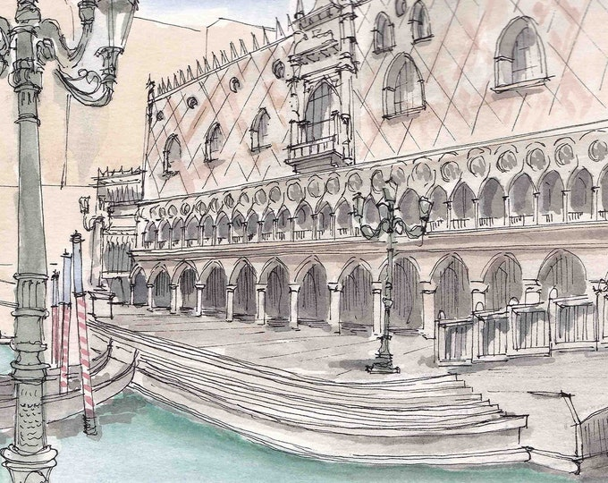 Ink and Watercolor Drawing of the Venetian Hotel In Las Vegas, Nevada - Italian Architecture, Gondola, Painting, Sketch, Art, 5x7, 8x10